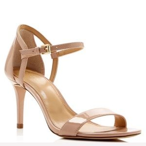 MK Simone Patent Ankle Strap Heel Sandals Nude
